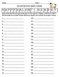 Best for grades 3-5.*    Includes:  VALENTINE'S DAY MAKE A WORD ACTIVITY  Valentine's Day Word Scramble  Valentine's Day Word Scramble Answer Key  Valentine's Day Alphabetical Ordering  Valentine's Day Math (subtraction, multiplication, and division)  Valentine's Day Math Challenge ( multiplication and division)  Practice with Place Value  Valentine's Day Word Search  St. Valentine Acrostic  Valentine Acrostic (modified version)  Three journal prompts with writing lines on each.