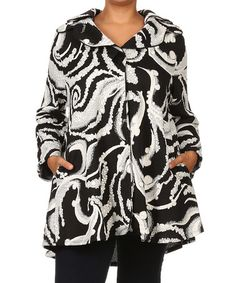 Another great find on #zulily! Black & White Scroll Button-Up Swing Coat - Plus #zulilyfinds