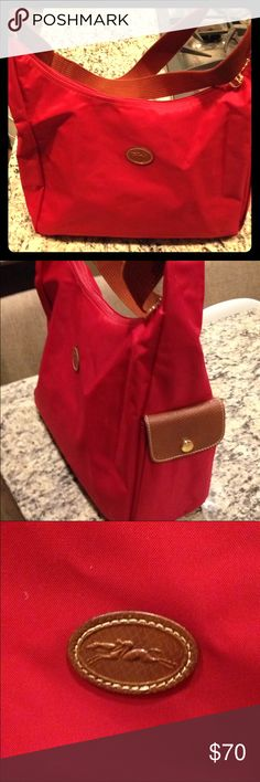 Longchamp Le Pliage Hobo, Red, Model #2450089545 Great condition, only used couple of times Longchamp Bags Hobos