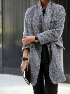 grey coat and black details