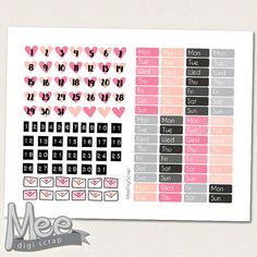 Hello love pink Date cover planner stickers PRINTABLE,Valentine day  printable stickers,February planner stickers,Valentines date cover ups