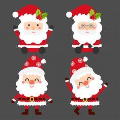 Colección linda de papá noel de la historieta. Vector Premium Christmas Images Free, Christmas Doodles, Christmas Wall Art, Merry Christmas, Christmas Wallpaper, Christmas Design, Christmas Ribbon, Christmas Themed Cake, Cute Avocado