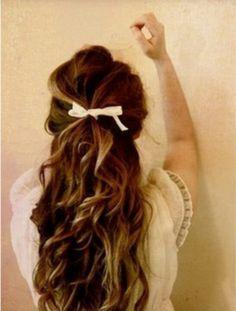 half up half down wedding hair. brunette. ribbon.