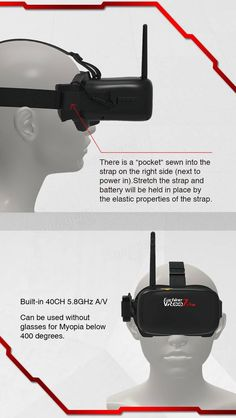 Resultado de imagen de Eachine VR-007 Pro VR007 5.8G 40CH FPV Goggles 4.3 Inch Video Headset With 3.7V 1600mAh Battery