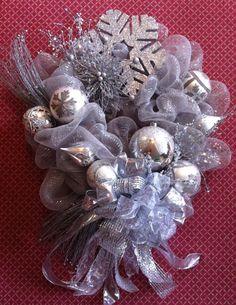 Silver Deco Mesh Christmas Wreath. www.markballard.com