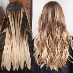 Balayaged and Painted by ❤️❤️ Caramel Blonde Hair Dye, Dyed Blonde Hair, Brown Blonde Hair, Ombre Hair, Balayage Hair, Hair Dye Colors, Hair Color, Honey Brown Hair, Blonde Hair Looks