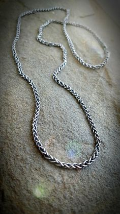 "Men's Snake Necklace, 24"" Twisted Chain Necklace, Men's Sterling Chain Necklace, Antiqued Sterling 24"" Chain, Mens Silver Chain Necklace by TandBrie on Etsy"