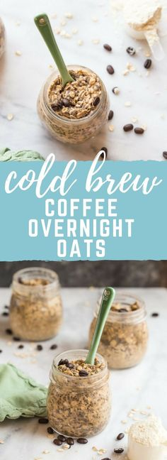 Do you need a little pick me up in the AM? Try this Cold Brew Coffee Overnight P… Do you need a little pick me up in the AM? Try this Cold Brew Coffee Overnight Protein Oatmeal. This overnight oatmeal is protein packed and laced with coffee! Oh happy day! Oatmeal Recipes, Coffee Recipes, Healthy Breakfast Recipes, Healthy Snacks, Breakfast Ideas, Eating Healthy, Breakfast Smoothies, Healthy Breakfasts, Breakfast Cups