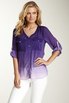 Sienna Rose Two Pocket Button-Up Tab Sleeve Sheer Shirt