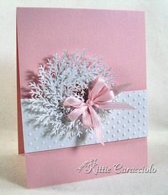 Winter White Wreath On Pink - branch punch in white Homemade Christmas Cards, Christmas Cards To Make, Pink Christmas, Xmas Cards, Handmade Christmas, Homemade Cards, Holiday Cards, Christmas Crafts, Beach Christmas