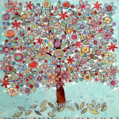 a happy day by gina mckinnis, via Flickr Multimedia Arts, Colorful Trees, Expressive Art, Fairy Art, Pretty Art, Tree Art, Pattern Art, Doodle Art, Cat Art