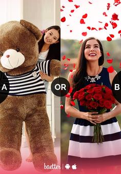 What do you love receiving more #teddy or #flowers? Vote on Baetter App