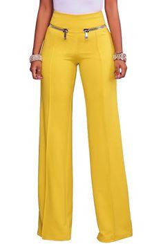 Womens Yellow Gold Zipper Detail High Waist Palazzo Pants - (US Trousers Women, Pants For Women, Clothes For Women, Fashion Pants, Fashion Outfits, Fall Fashion, Fashion Trends, Yellow Pants, Looks Chic