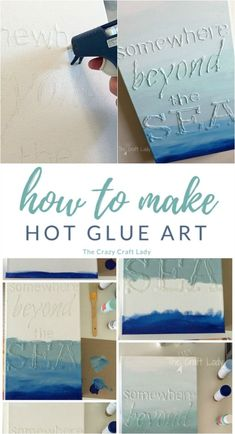 Glue Canvas Art How to make Hot Glue Art - create custom canvas art with a favorite quote using hot glue and acrylic craft paint.How to make Hot Glue Art - create custom canvas art with a favorite quote using hot glue and acrylic craft paint. Canvas Art Quotes, Diy Canvas Art, Custom Canvas, Canvas Crafts, Diy Wall Art, Custom Wall, Canvas Ideas, Wall Decor, Canvas Canvas