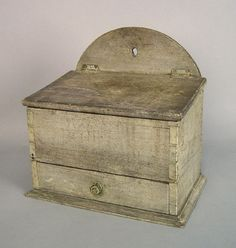 "Painted pine hanging salt box, 19th c., retaining an old gray surface, 11 1/4"" h., 10 1/4"" w."