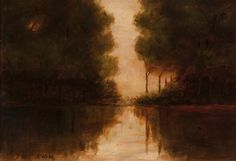 """Untitled tonalist landscape, Dwight William Tryon, oil on canvas, 8 3/4 x 13"""", private collection."""