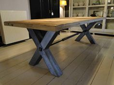 Oak Coffee Table, Oak Table, Dining Room Table, Table And Chairs, Blue Furniture, Custom Furniture, Wood Furniture, Build A Table, Timber Table