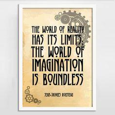 Imagination is Boundless Alternative Steampunk Quote Print - BlackSails.co.uk