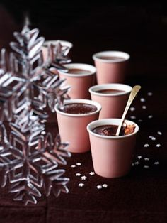 via Nigella: Chestnut Chocolate Pots: I'm almost embarrassed by how easy these are. It's true that you do need a processor, though you could just chop well and whisk using a lot of elbow grease. Nigella Lawson, Christmas Pudding, Christmas Desserts, Christmas Foods, Christmas Cooking, Christmas Recipes, Chocolate Pots Recipe, Chocolate Cups, Nigella Christmas