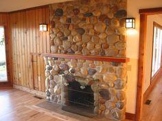 Cobblestone Fireplace stone fireplace with cedar log mantel | log furniture | pinterest