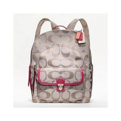 Coach Poppy Metallic Signature Sateen Backpack ❤ omg I think I'm in love !!!