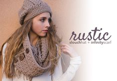 Crochet Patterns - Rustic Slouch / Slouchy & Fringe Infinity Scarf (Rustic Slouchy and Scarf Crochet Slouch Hat Crochet Pattern, Crochet Purse Patterns, Pdf Patterns, Free Pattern, Crochet Gratis, Free Crochet, Knit Crochet, Hat And Scarf Sets, Crochet Scarves