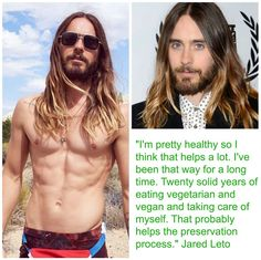 Jared Leto, who is now 43 years old, told British GQ that he attributes his youthful appearance to his eating habits! #MyVeganJournal