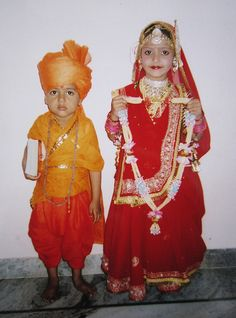 riddhika and jaswant singh parihar as swami vivekanand and indian dulhan in fancy dress comptition udaipur rajasthan india