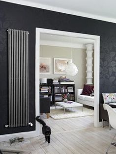 Carlos design radiator: an excellent quality steel radiator with rectangular tubes. It is a general-purpose radiator, suitable for any room. Central Heating Radiators, Vertical Radiators, Dressing Room, Oversized Mirror, Dining Room, House Design, Modern, Furniture, Color