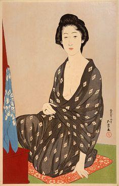 夏の衣服の女 ・橋口五葉、1920
