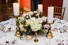 Pink Centerpieces, Centerpiece Ideas, Table Decorations, Table Numbers, Floral Design, Reception, Blush, Ivory, Candles