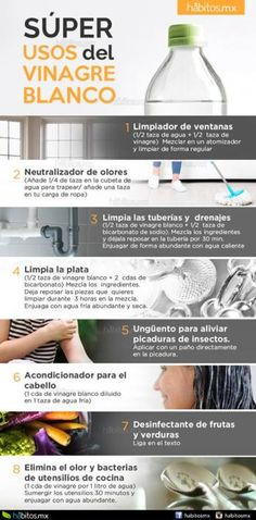 SÚPER USOS DEL VINAGRE BLANCO Home Remedies, Natural Remedies, Health Remedies, Fee Du Logis, Limpieza Natural, Power Clean, Natural Cleaners, Cleaners Homemade, Home Health