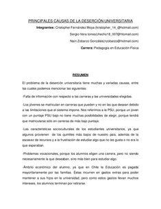 PRINCIPALES CAUSAS DE LA DESERCIÓN UNIVERSITARIA          Integrantes: Cristopher Fernández Moya (kristopher_14_@hotmail.c...