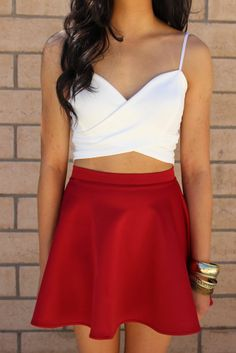 Red skater skirt and white top combo @Mayra Frank Frank Frank Frank Castro