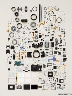 Disassembled camera - from Todd McLellan's Things Come Apart.  Would love to frame a huge print of this.