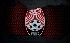 Download wallpapers Zorya, 4k, logo, Ukrainian Premier League, soccer, football club, Ukraine, Zorya Luhansk, grunge, metal texture, Zorya FC