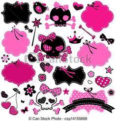 Clip Art Vector of girlish cute skulls and frames - large set of ...