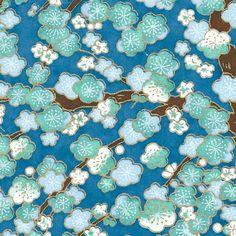 Papier Japonais / Sérigraphie fleurs de cerisiers bleues et vert d'eau, contours dorés sur fond bleu - Adeline Klam