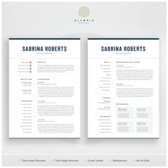 1 Page Resume Interesting Resume Template  1 Page Resume  2 Page Resume  Professional Cv .