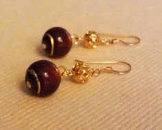 Jody Earrings  Red and Gold Venetian Glass by HabibiShabibiDesigns, $15.00