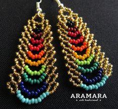 Collar mexicana Huichol arco iris collar y aretes Set JGO-0052