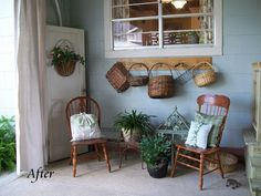 would love to do this on the back porch and hang my americana baskets