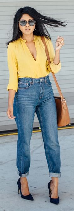 Mustard Blouse Casual Outfit Idea by Walk In Wanderland