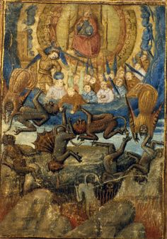 Fall of Lucifer and rebel angels.  Late 15th C. (MS. Douce 381)