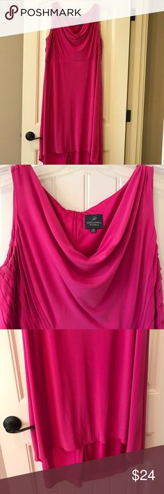 Pink Women's Adrianna Papell Dress Size 18 W. Very Nice. Graduated length. Lined, very well made. I either purchased it from Lord & Taylor or Macy's. Front length about 42 inches back length about 49 inches. The bust area is about 43 inches. Adrianna Papell Dresses High Low