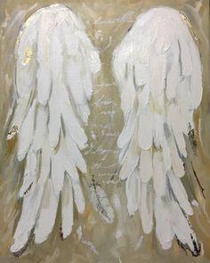 Engel-Flügel-Malerei mit Gold Leaf ich weiß dass war Sie 11 x