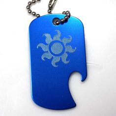 "MLP Celestia Blue Key Chain With 4"" Chain Dog Tag Aluminum Bottle Opener EDG-0197"