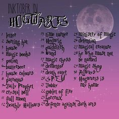 Created my Hogwarts inspired @inktober list of tattoo designs for my portfolio, which I will finish with the trip to @wbtourlondon ⚡EDIT: as many of you asked - YES the list is FREE to use ❤