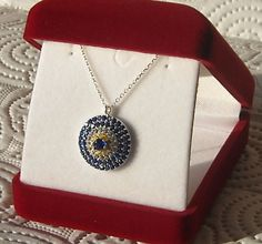 Sterling Silver Zirconia Pave Disk Evil Eye by AfillyDsign, $34.90