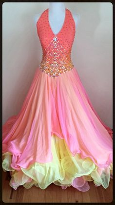 Tropicana - smooth and standard rental dress - perfect for your next ballroom event!  dazzledancedressrentals.com